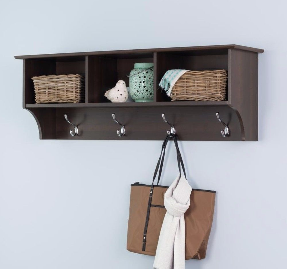 Wall-Mounted Coat Rack With Storage in Espresso Finish Home Office Furniture