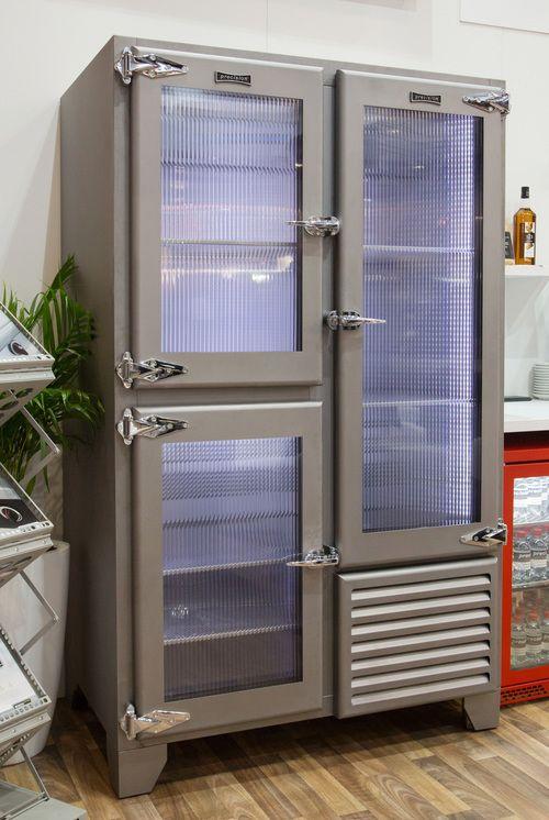 Retro fridge with ribbed glass doors equipment concepts - Glass door fridge for home ...