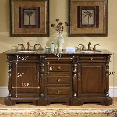 "Silkroad Exclusive 72"" Addison Double Bathroom Vanity  Wayfair Impressive 72 Inch Bathroom Vanity Double Sink Inspiration Design"