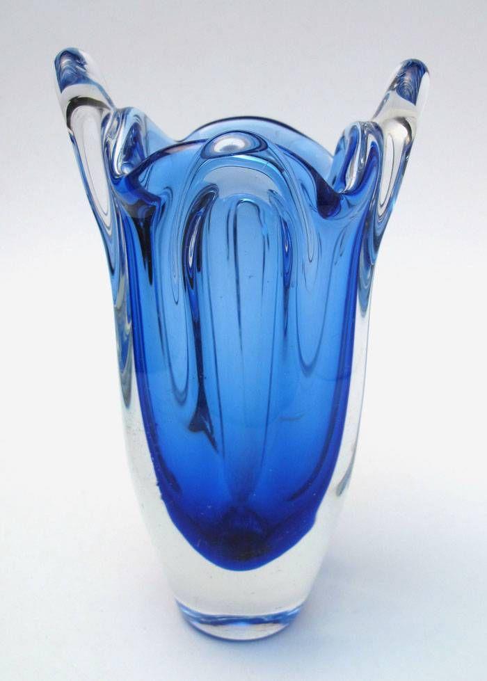 Vintage Italian Murano Cobalt Blue Art Glass Vase Retro Mid Century