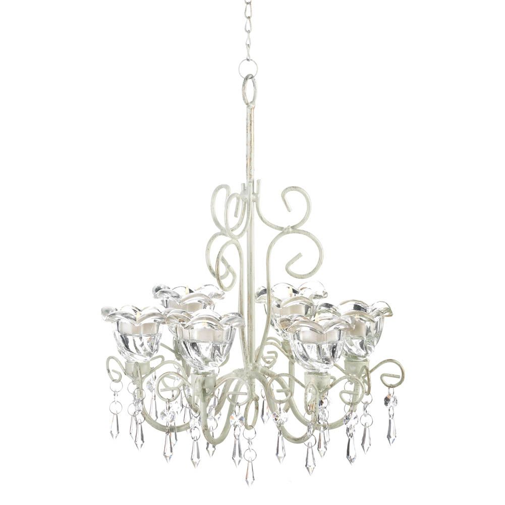 The Metal Framework Of This Deluxe Candle Chandelier Features Curling Flourishes That Drip With Faceted Jewels Place Candles Your Choice