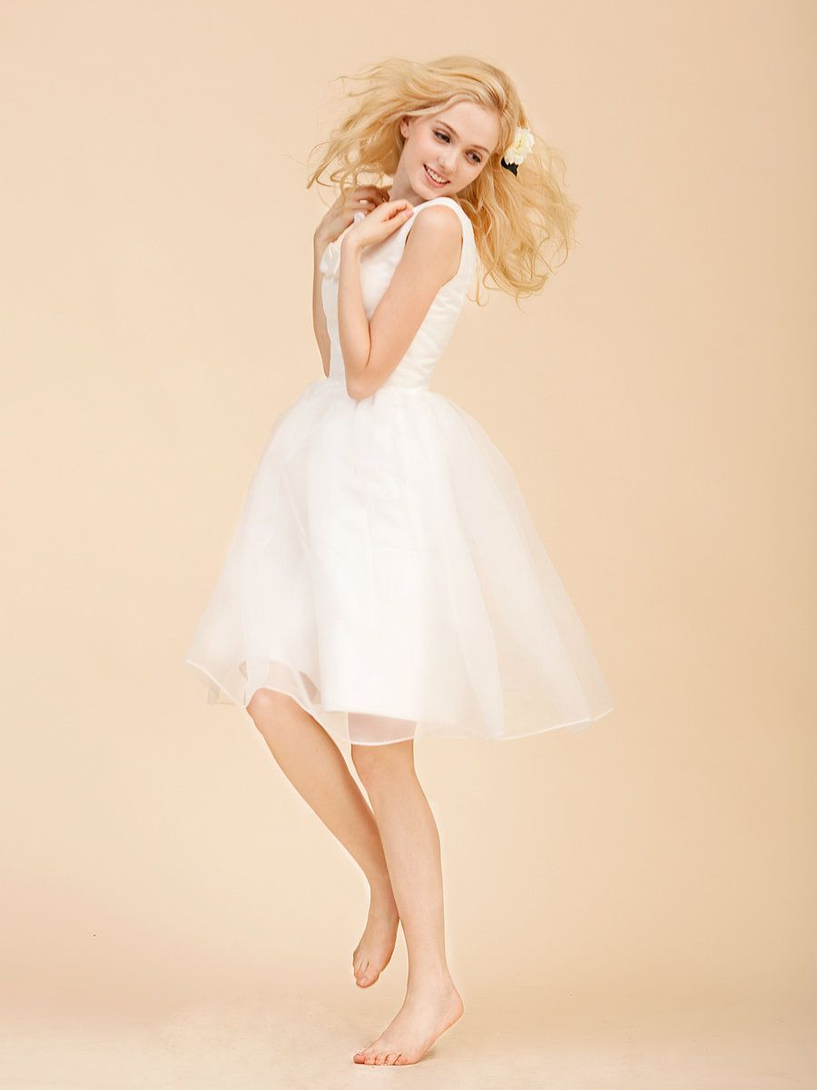 Little white wedding dress  V Neck Ballerina Skirt Little White Dress Read More