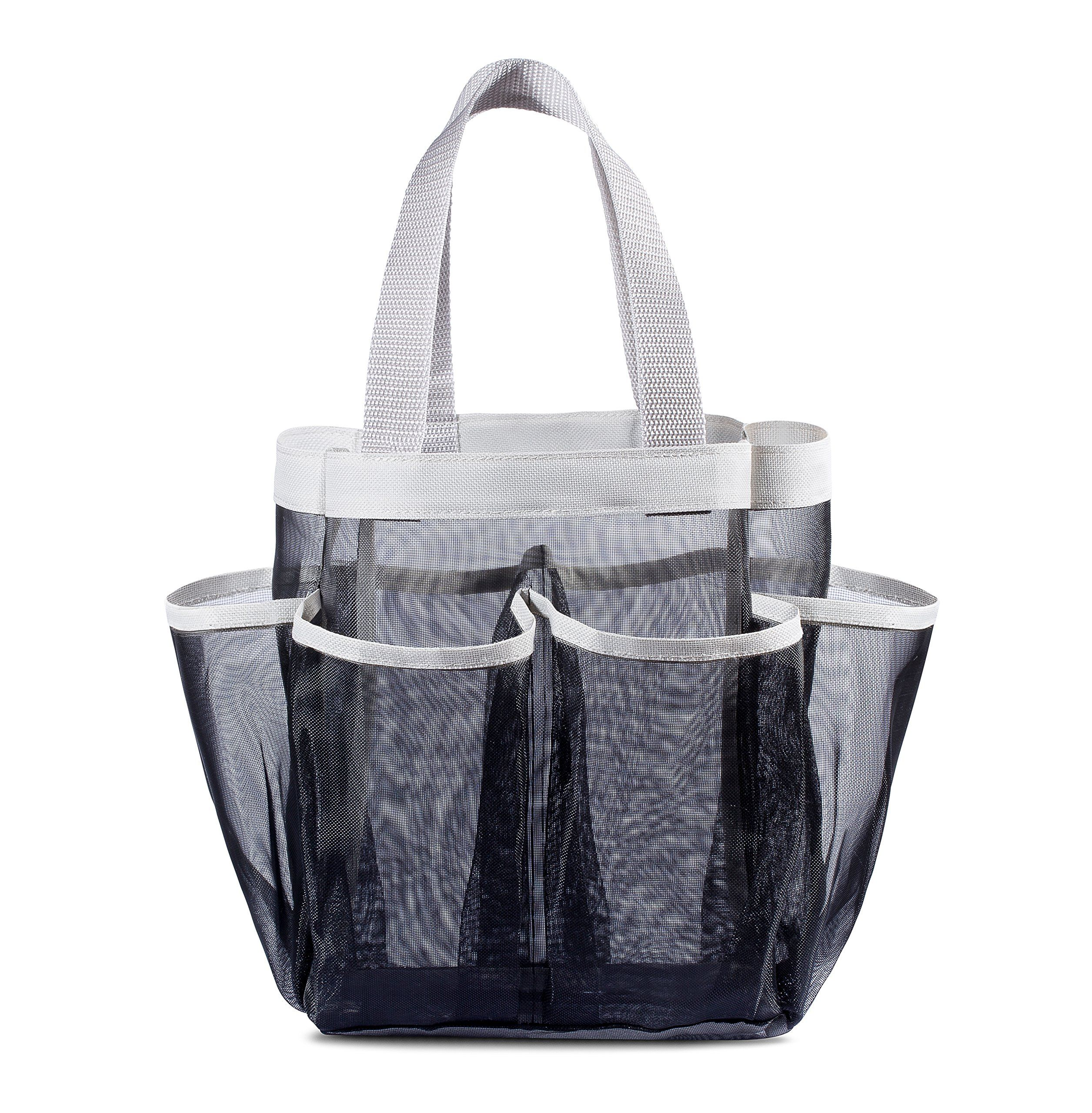 7 Pocket Shower Caddy Tote, Black - Keep your shower essentials ...