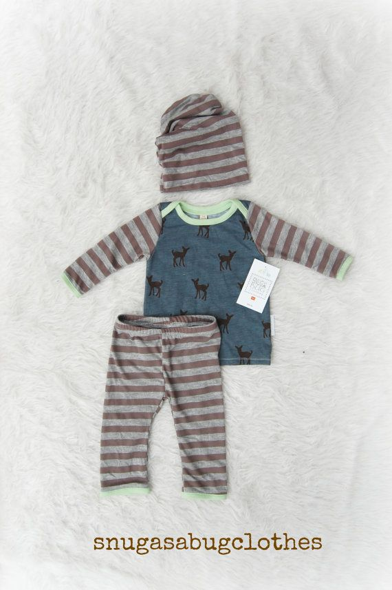 1b82104a018 OH DEER Baby Boy Coming Home Outfit with Matching Slouchy Beanie Hat ...