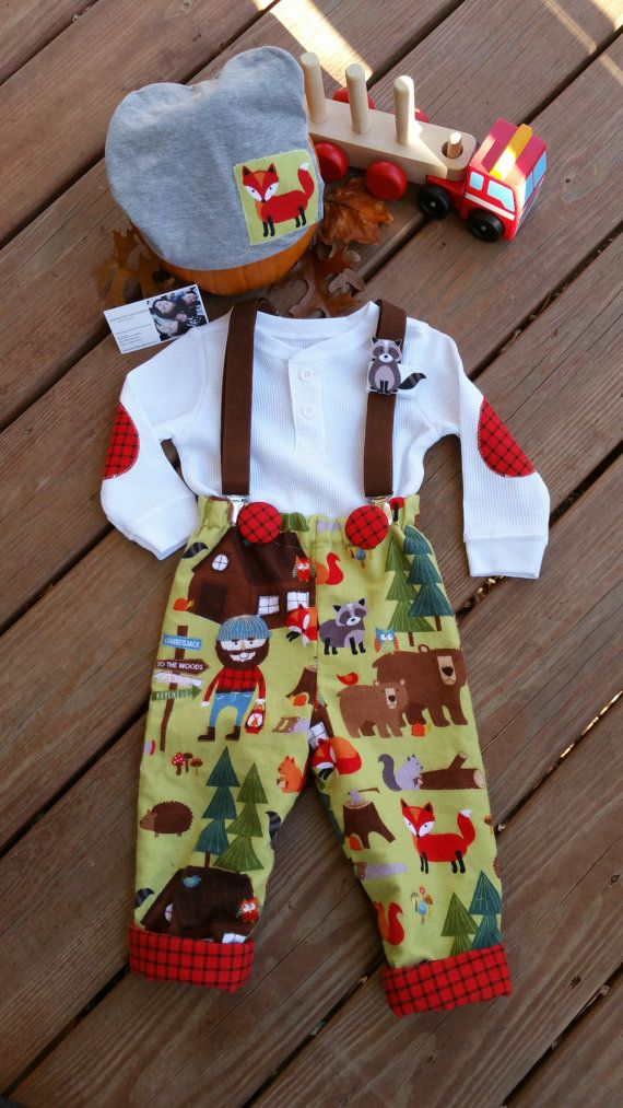 284e35d36 Baby Boys Outfit, Tree Logger, Boys Flannel Pants/trousers, Baby Boy  Christmas outfit, Little Boys Fall-Winter Clothing/MYSWEETCHICKAPEA Little