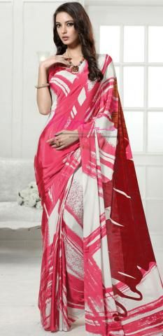 48639ad18d French Crepe Sarees Online Peach Casual Wear Printed SF3296D19339 ...