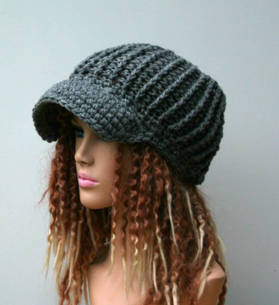 Heather gray Ponytail hat, Visor Dread Tube cap, billed dread tube ...