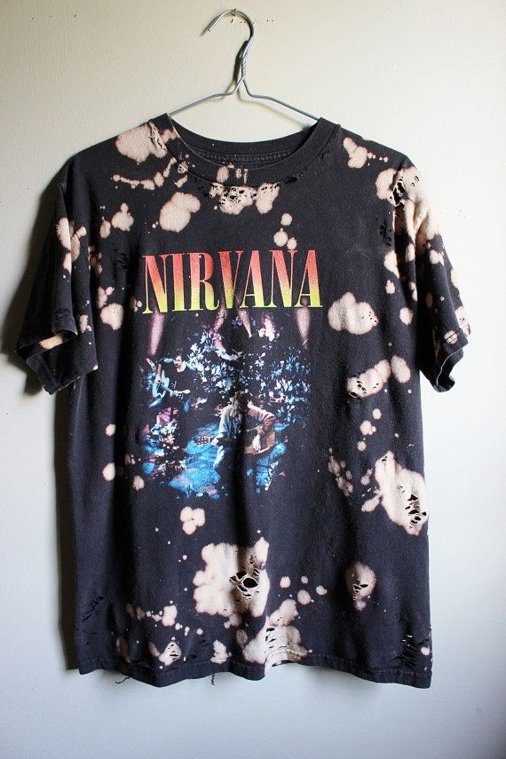 28ae36990c7ff This shirt is a one of a kind, each splattered shirt is different. This one  is a Nirvana unplugged tee , all cotton. Splatter bleach and…