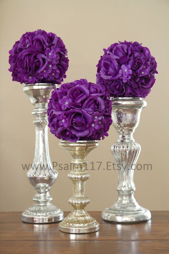plum dark purple wedding pomander flower balls. 6-inch wide rose and stephanotis silk flowers. $13 each. 9 colors available. www.Psalm117.etsy.com