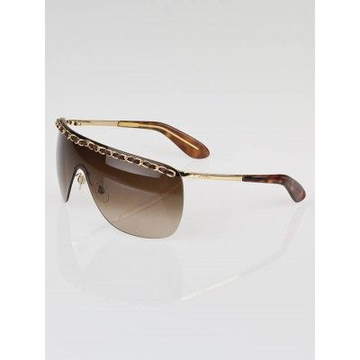 8f28c4b265 Chanel Brown Gold Rimless Shield Chain Sunglasses-4160-Q