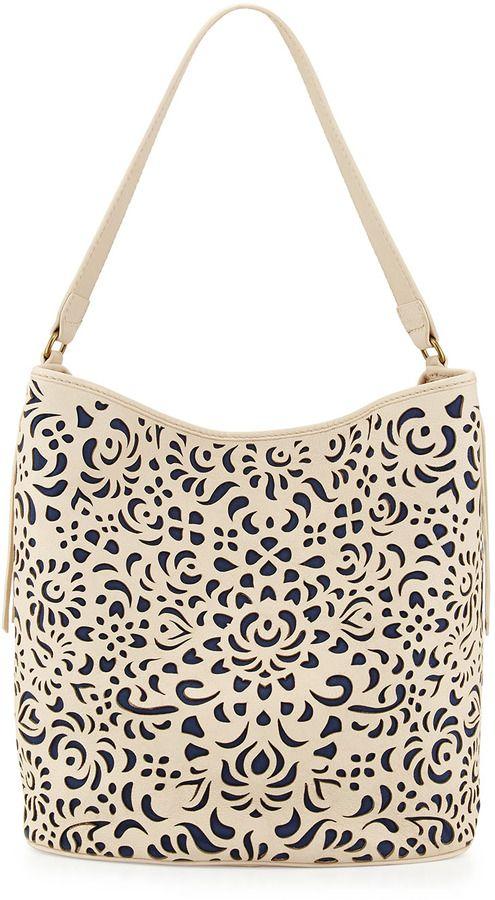 c9e7982e91ba Isabella Fiore Alexandra Floral Laser-Cut Tote Bag, Alabaster on shopstyle .com