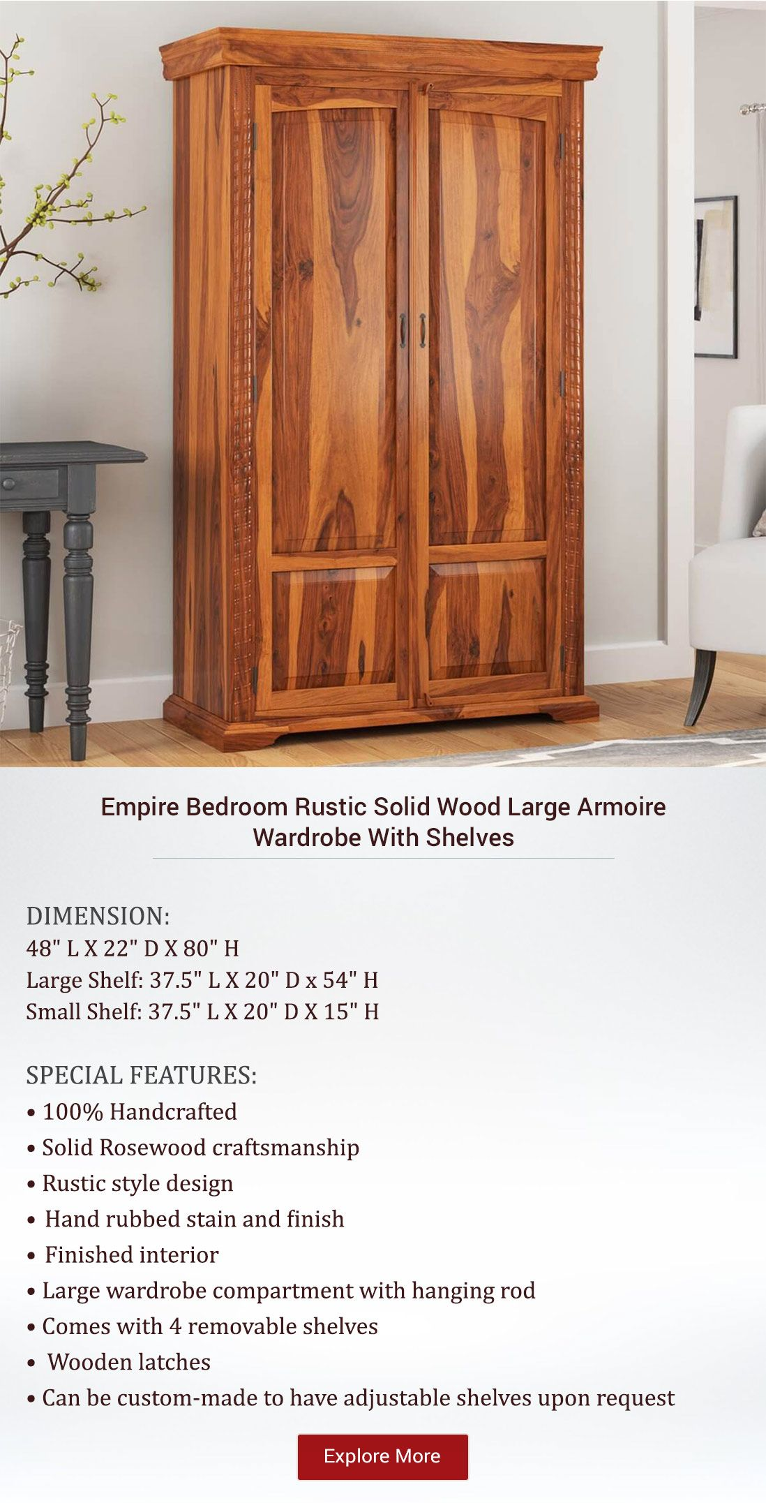 Empire Bedroom Rustic Solid Wood Large Armoire Wardrobe With Shelves Rustic Bedroom Wardrobe Armoire Shelves
