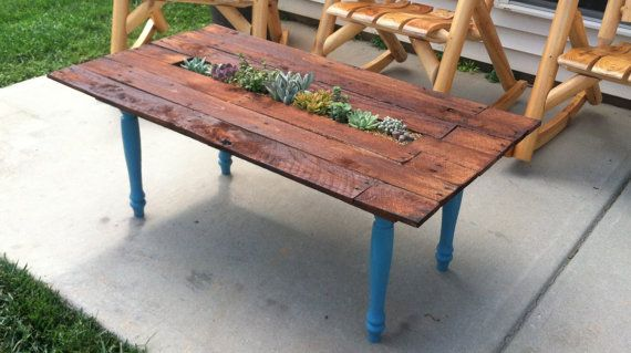 Beautiful Outdoor Coffee Table With Center Planter Box By KeystoneDesign