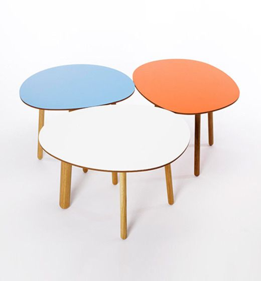 Morris Coffee | MORRIS tables are small, asymmetrically shaped rounded coffee tables in five forms and a playful set of wooden legs. Table top in veneered or laminated MDF, legs in oak, fixtures in stainless steel. Design Kirsi Gullichsen