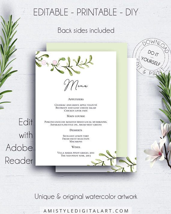 Rustic Printable Wedding Menu, with unique hand-painted watercolor - wedding menu template
