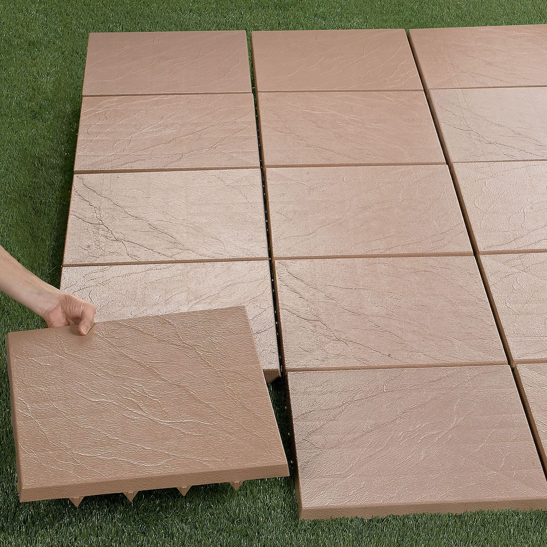 Laying Pavers Over Dirt: 20 Patio Tiles $236. Create An Instant Patio-on Any Grass