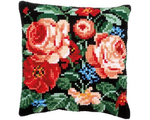 "DIY Needlepoint Pillow Kit Vervaco ""ROSES"", Cross Stitch Cushion kit, Embroidery kit 16""x16"" (40x40"