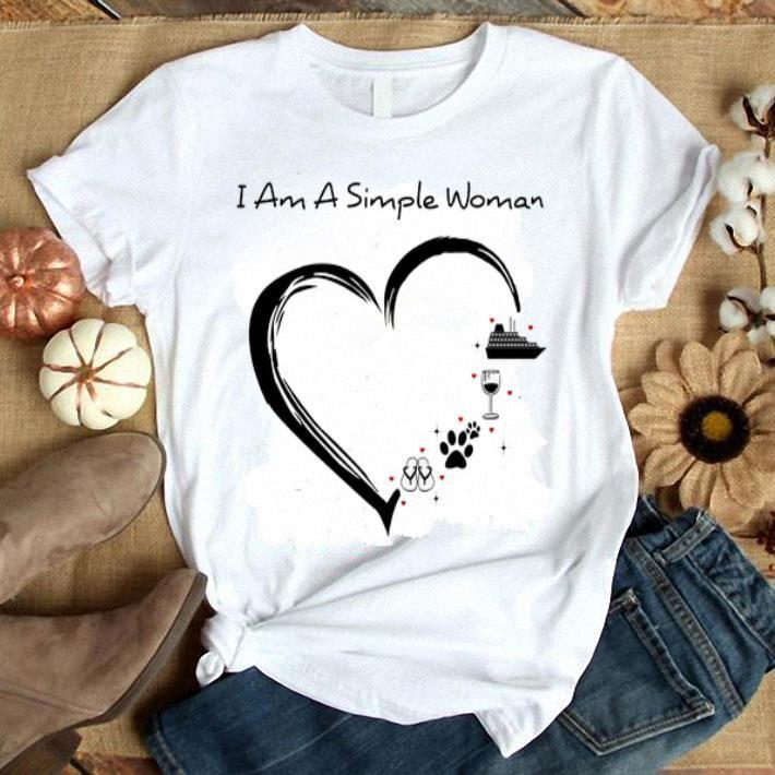 I am a simple woman i like flip flop paw dog wine cruise ship shirt, hoodie, sweater, longsleeve t-shirt