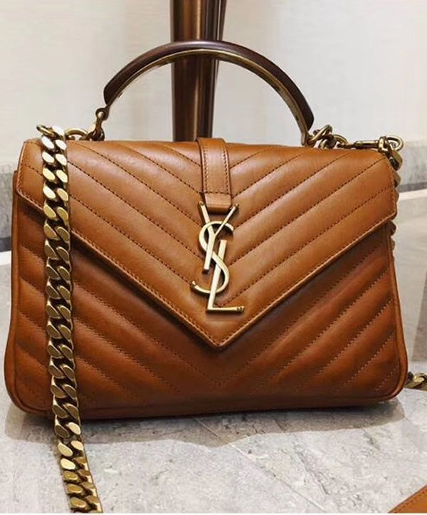 26664444887 YSL Monogram College Medium Leather Shoulder Bag with a Wooden and Metal  Handle. #YSLBags #SaintLaurentHandbags #YSLCollege #YSLHandbag