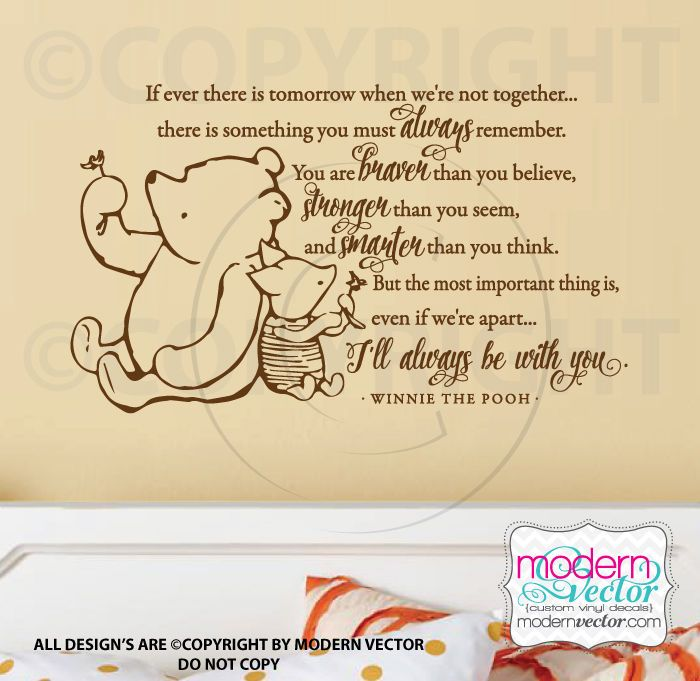 Winnie the Pooh Quote Vinyl Wall Decal Classic Pooh Braver Stronger ...