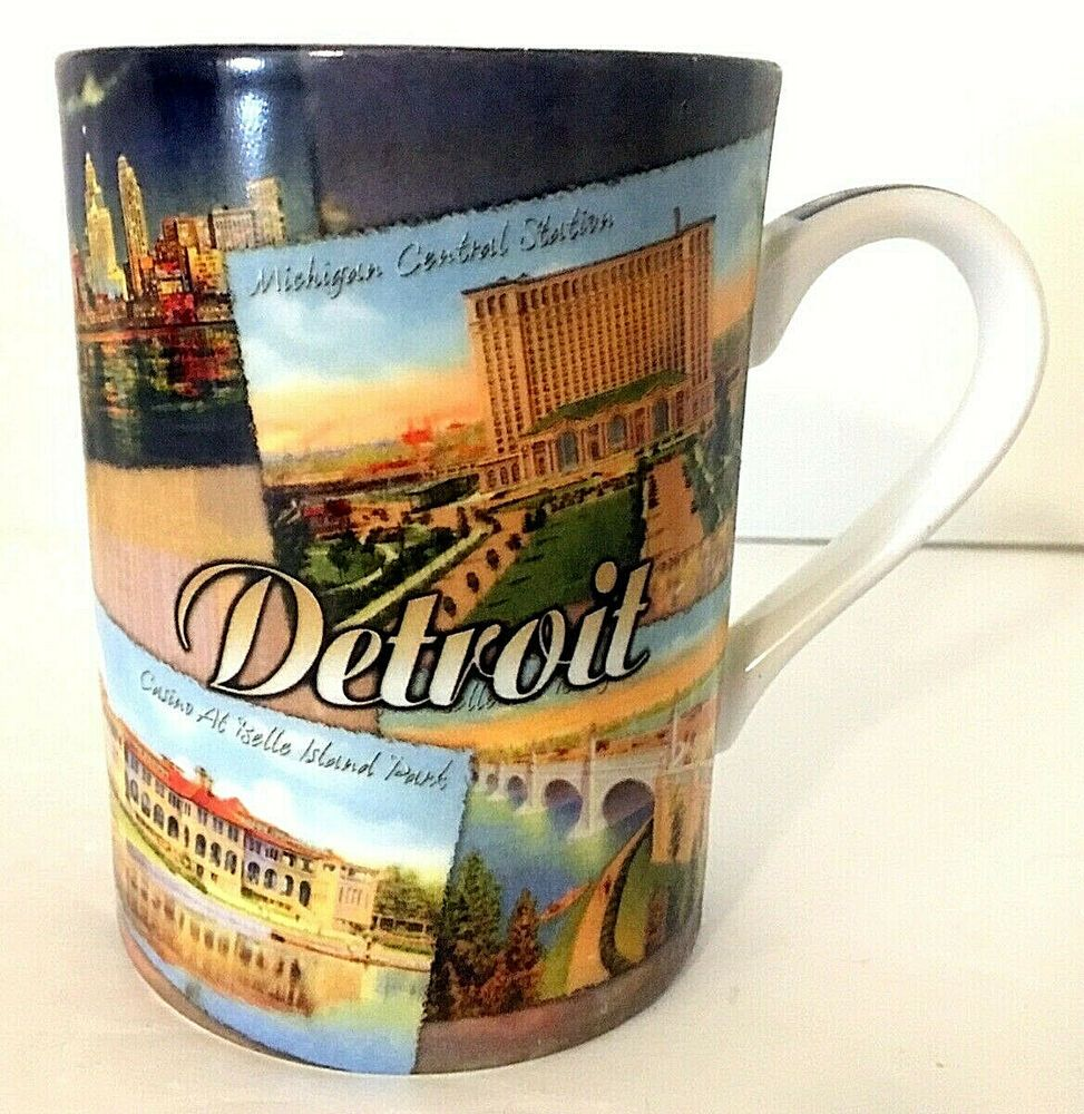 Detroit Michigan Souvenir Coffee Mug Vintage Postcard