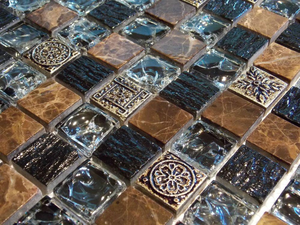Crush Marmormosaik Glasmosaik Effekt Mosaik Fliese braun Schwarz ...
