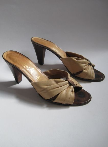 Vintage 1970s Brazillian Made Tan Leather Open Toe Mules available to buy online at Virtual Vintage Clothing £5