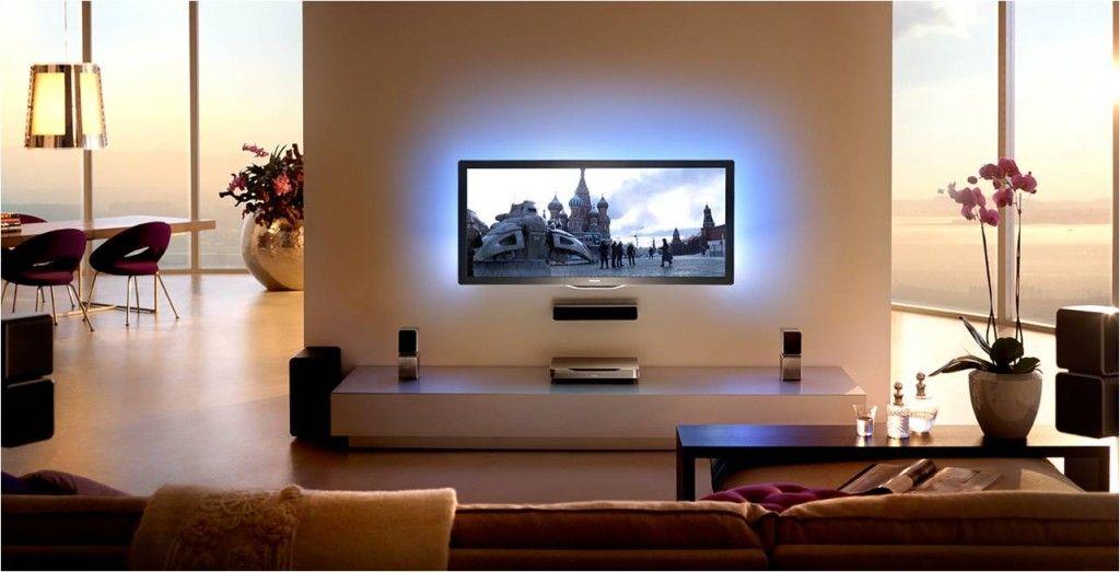 Led Hintergrundbeleuchtung Tv Wall Mounted Tv Tv Wall Apartment Design Inspiration