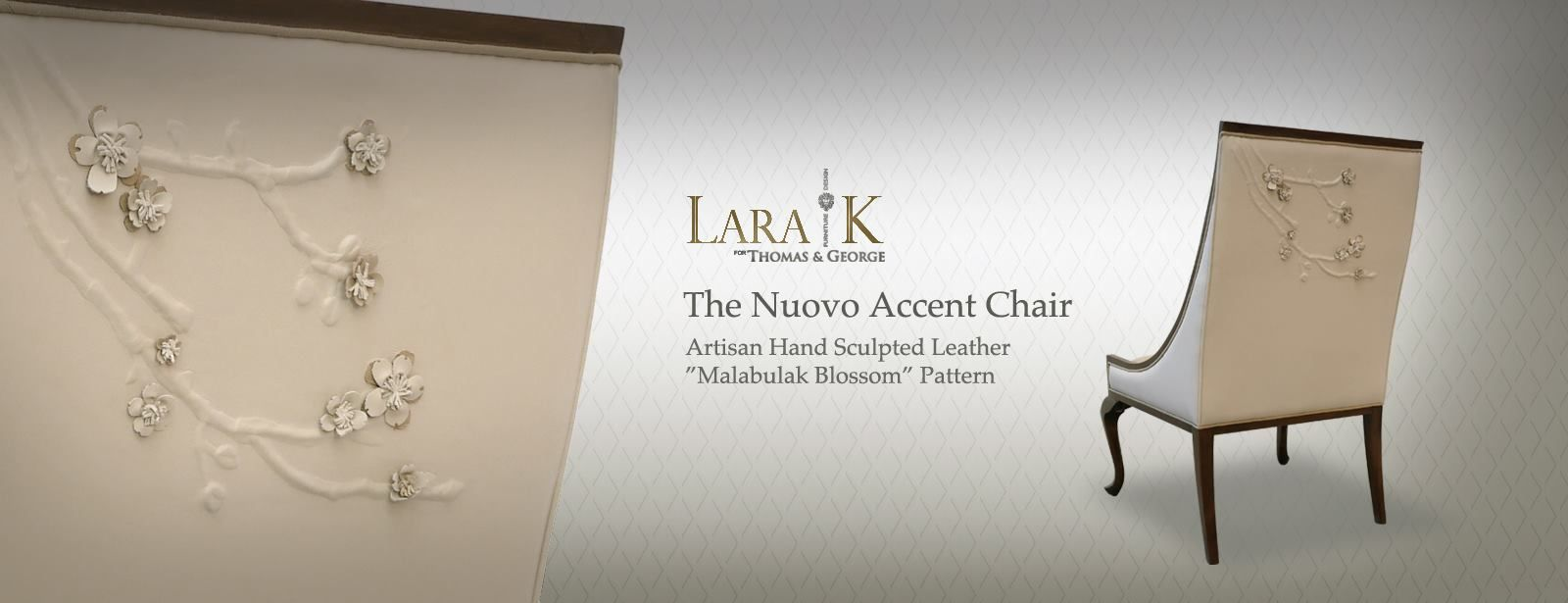 Nuovo Accent Chair With Hand Sculpted Blossom Leather Details