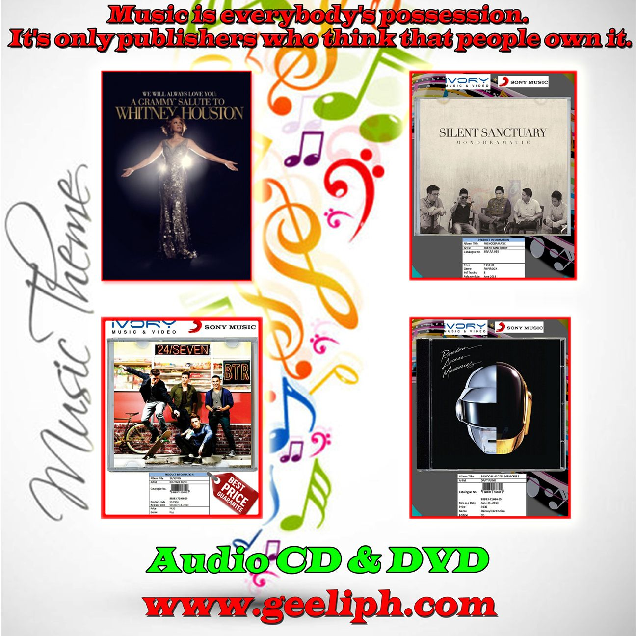 Music is everybody's possession. It's only publishers who think that people own it.  Visit now: www.geeliph.com  For more inquiries: TEL# : ( 02 ) 962 - 6441  Sun # : 0923 - 6155551  Globe #: 0927-3303130  Smart #: 0998-4526306