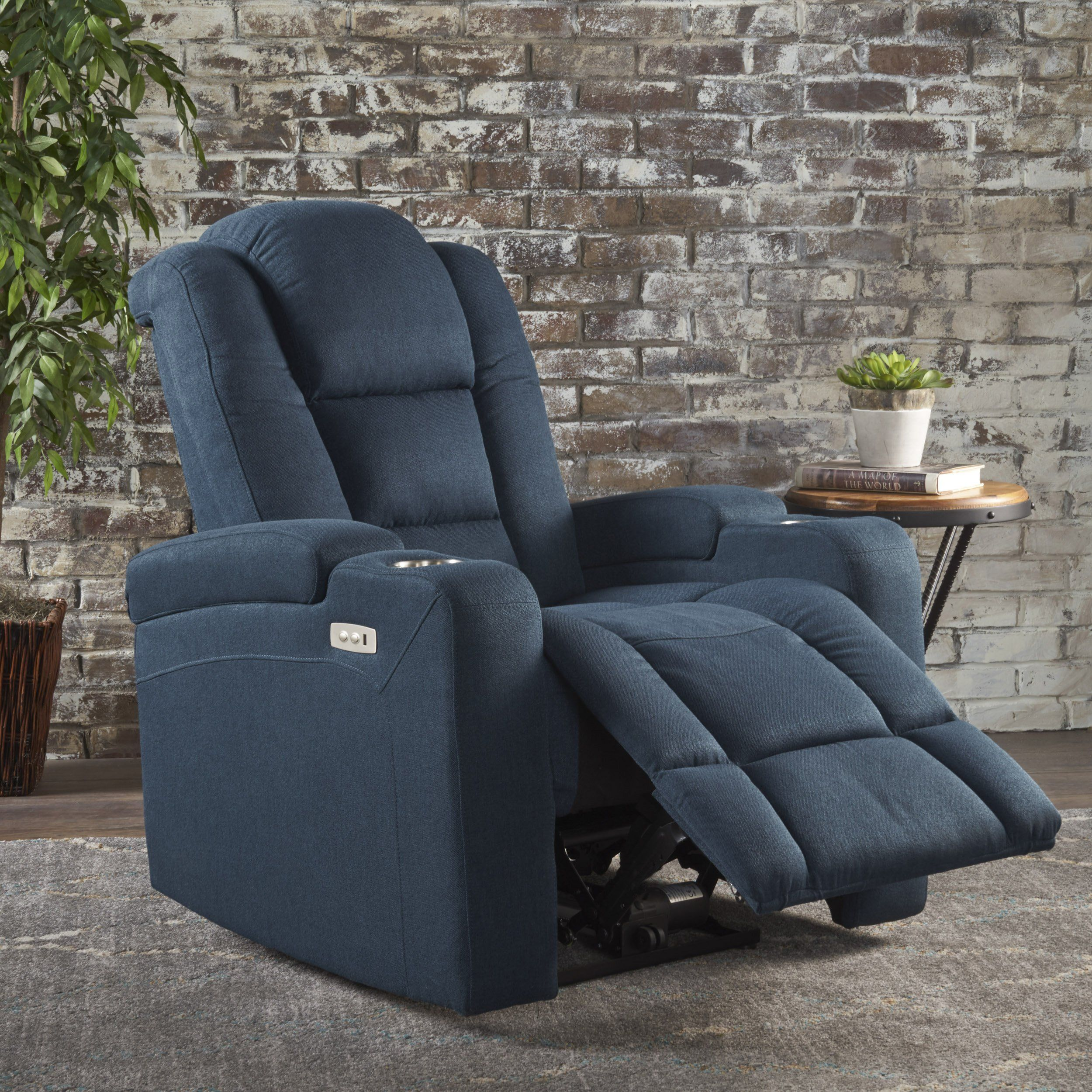 Everette Fabric Power Recliner With Cup Holder Usb Charger And Storage In 2021 Power Recliners Recliner Navy Blue Fabric Recliner with cup holder and storage