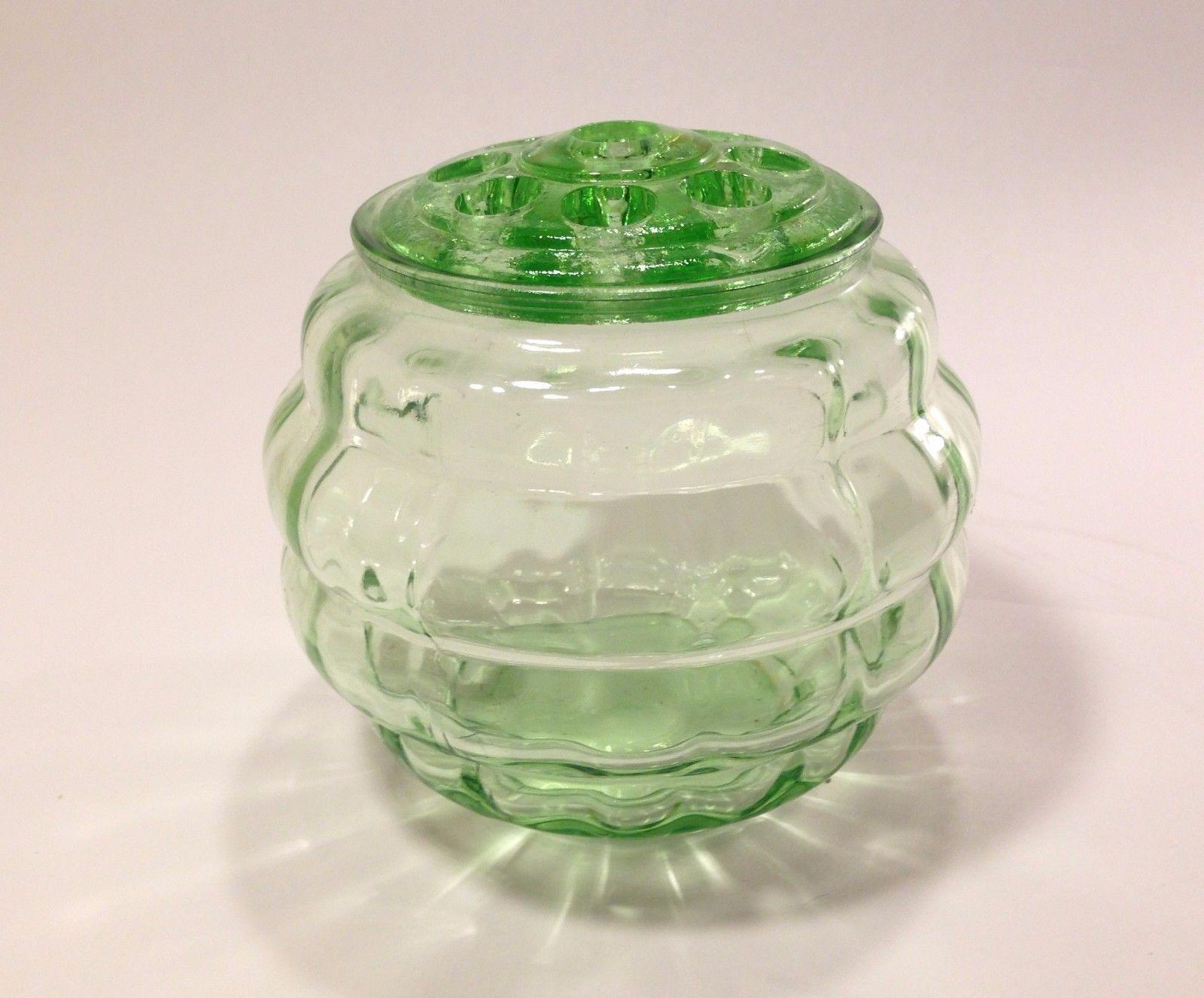 "VINTAGE GREEN DEPRESSION GLASS Vase Bowl FLOWER FROG 3 5/8"" 9 holes Optic  Round -- Antique Price Guide Details Page"