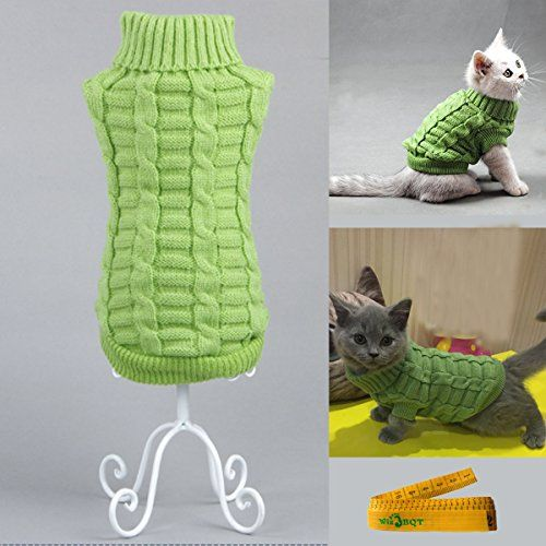 Knitted Braid Plait Turtleneck Sweater Knitwear Outwear for Dogs Cats (Green, S)