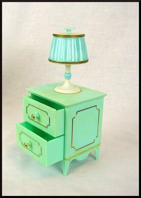 Vintage Serie Milady Night Stand With Lamp 1 6 Scale Doll Furniture Doll Furniture Barbie Furniture Dollhouse Furniture