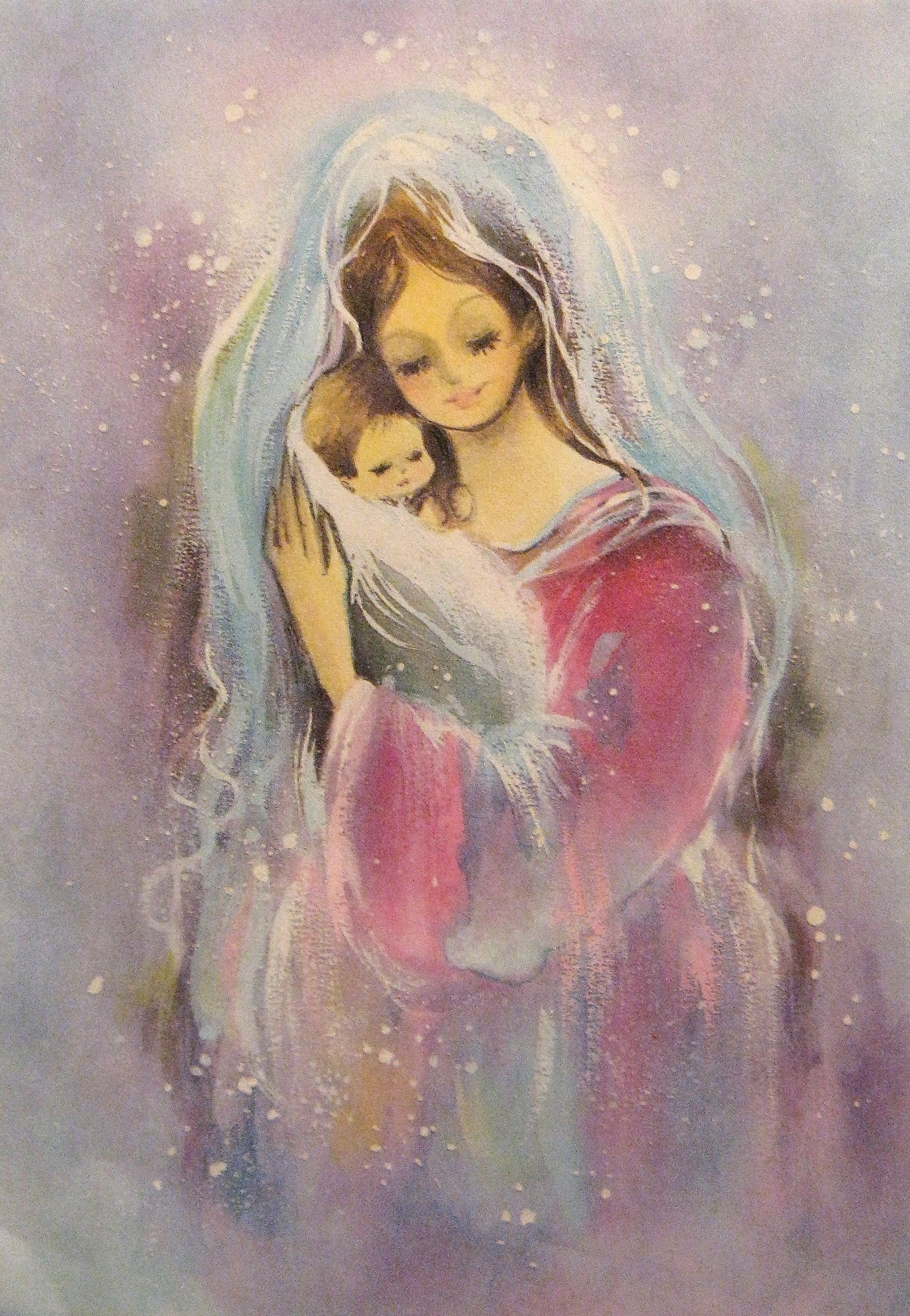 1960s Madonna and Child Christmas card. | Old Fashioned Christmas ...