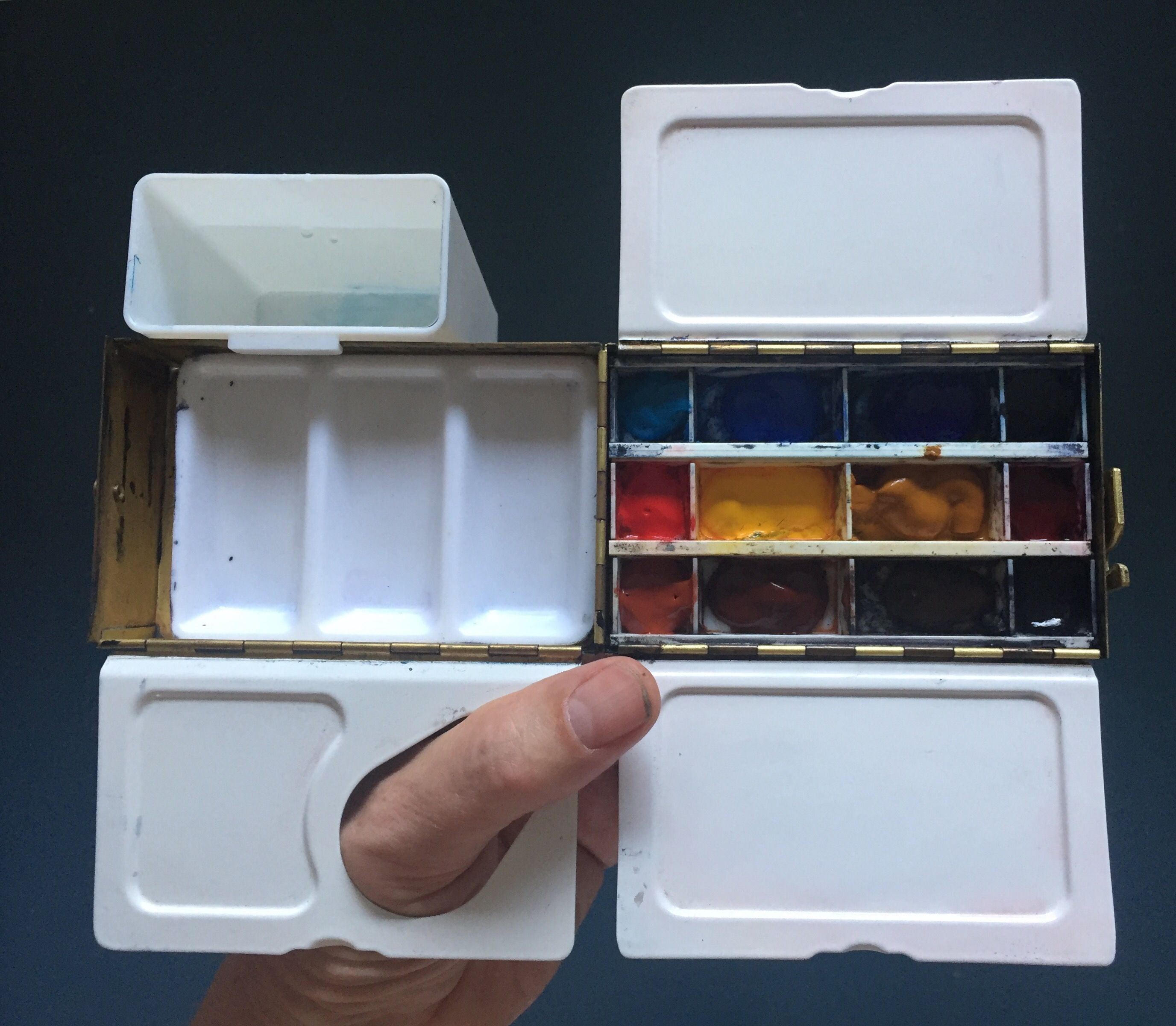 My Main Studio Watercolour Palette An Enamelled Brass Paintbox