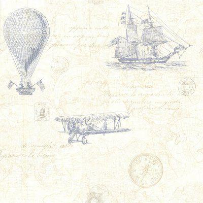 Beacon House Explorer Antique Map Wallpaper Blue - 2604-21242