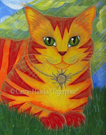 Sun Cat Art Rajah Golden Cat Big Eye Art Fantasy Cat Art Print 8x10.