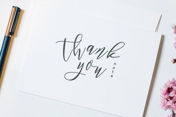 Calligraphy Thank You Cards With Photo Insert Slot Minimalist Card Baby Shower