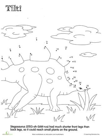 Dino Dot To Dot Stegosaurus Dinosaure Dessin Enfant Et Coloriage