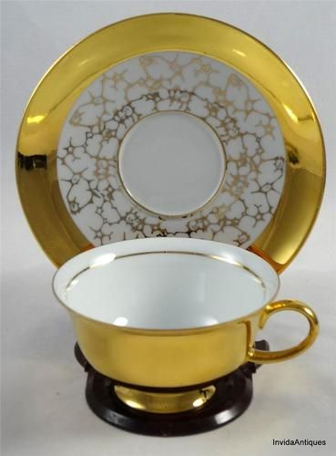 E Bavaria Germany Marked Heavy Gold Tea Cup & Saucer Set--CHARM
