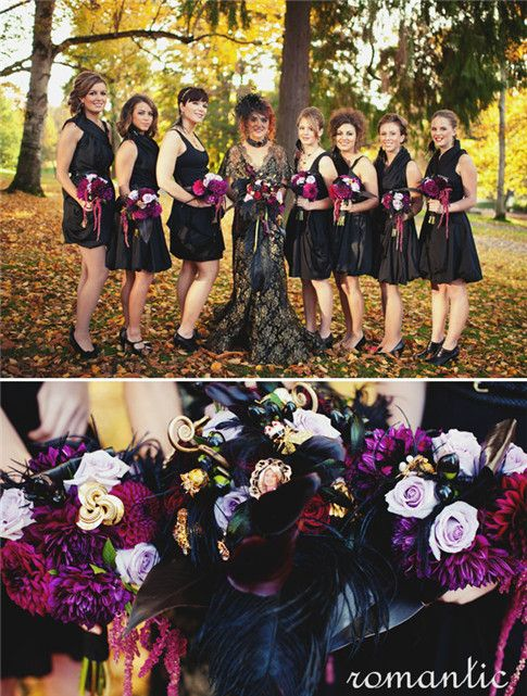 Cute Mini Bouquets For The Bridesmaids Halloween Wedding Dresses