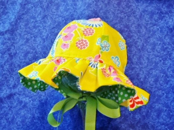 Yellow Baby Sunhat Bright and Colorful by AdorableandCute on Etsy
