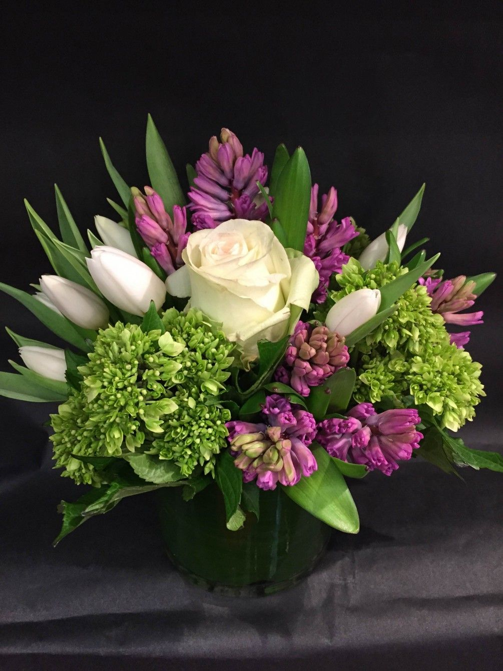 Tulips Hyacinth Hydrangea And Roses Complete This Contemporary