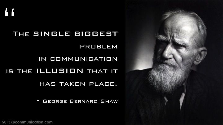 the single biggest problem in communication is the illusion that it has taken place meaning