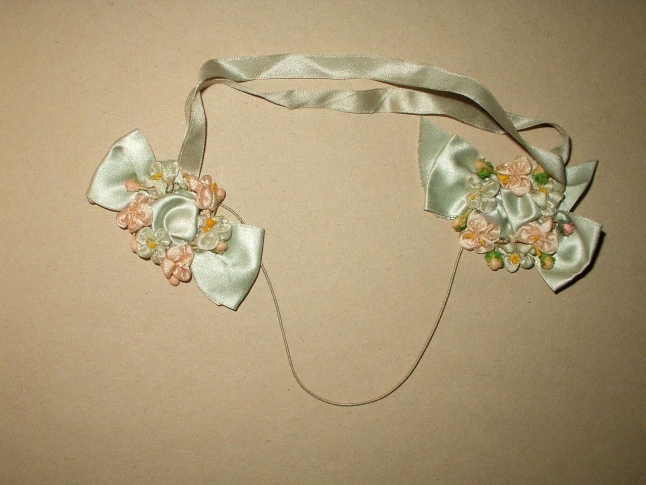 Silk Ribbon Double 1920 Flapper Rosette Embellishment Trim - The Gatherings Antique Vintage