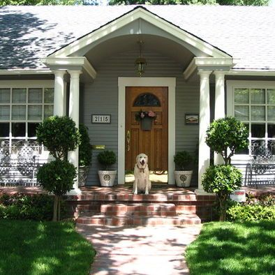Traditional Front Porch Design Double Pillars Portico Design