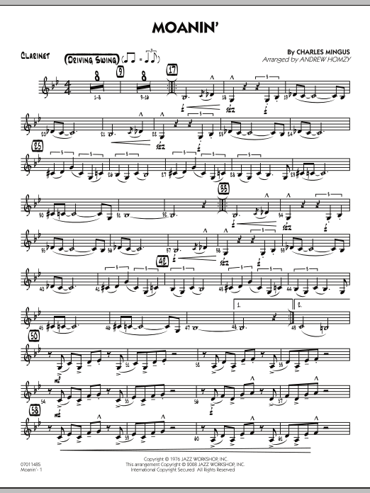 Andrew Homzy Moanin Clarinet Sheet Music Notes Chords Score Download Printable Pdf Clarinet Sheet Music Sheet Music Notes Sheet Music