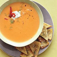 Red Pepper Fennel Soup With Pita Chips Fennel Soup Pita Chips Stuffed Peppers