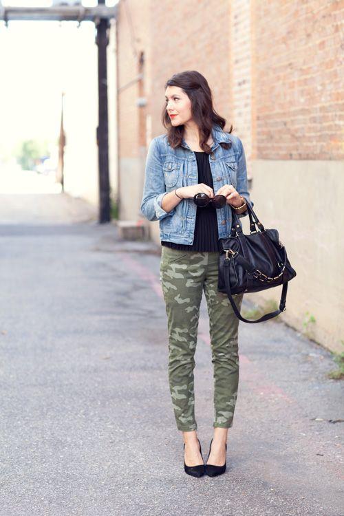 27773aede1939 faded jean jacket, black pleated top, skinny camo pants, black leather bag,  black heels
